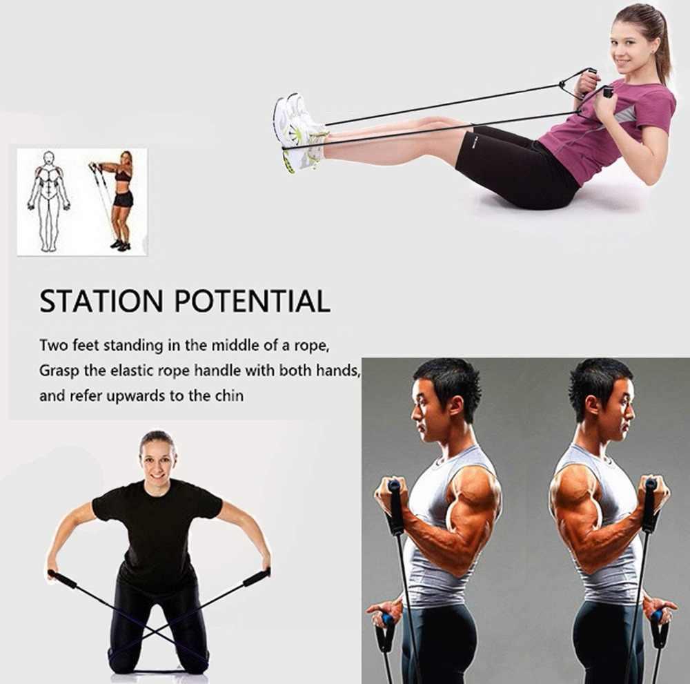 120 cm joga ciągnąć liny elastyczne zespoły oporu gumy do treningu Fitness Pilates Stretch sprzęt do treningu wytrzymałości na rozciąganie Expander liny