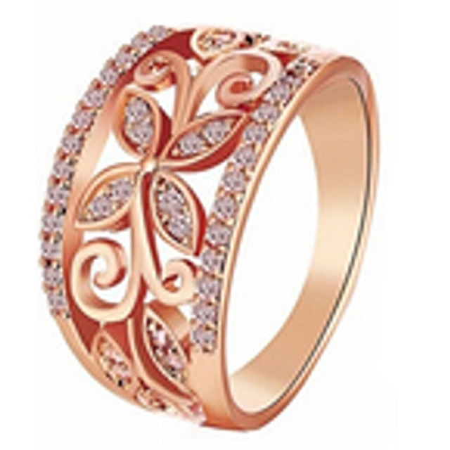 Crystal Four Clover Flower Wedding Ring For Women Rose Gold Hollow