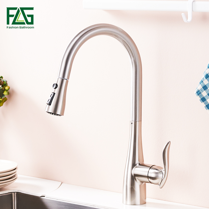 FLG Kitchen Faucet 360 Rotate Swivel Pull Out Spray Brass Nickel Brushed Kitchen Sink Faucet Single Lever Vanity Mixer Taps 792 цена 2017