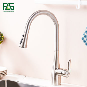 FLG Kitchen Faucet 360 Rotate Swivel Pull Out Spray Brass Nickel Brushed Kitchen Sink Faucet Single Lever Vanity Mixer Taps  792