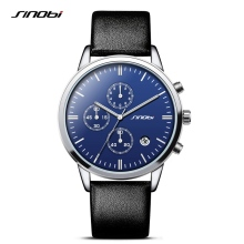 SINOBI Fashion Mens Wrist Watches Sports Multifunction Chronograph Leather Watchband Luxury Males Geneva Quartz Clock 2017 K64