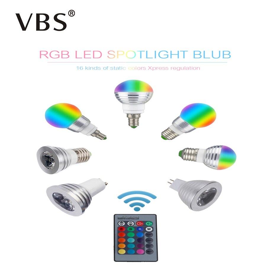 E27 E14 MR16 GU10 RGB Led Bulb With 16 Changeable Colors AC85-265V 3W Led E27 Lamp RGB Led Light + IR Remote Controller