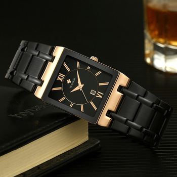 Original Wrist Watch Men Black Quartz Square Business Male Clocks Waterproof Casual Fashion Black Wristwatches waches whatch image