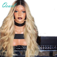 Natural Hairline 150% Density Blonde Wavy Lace Front Wig Ombre 1B/613 Body Wave Dark Roots Remy Hair Front Lace Wigs Qearl Hair