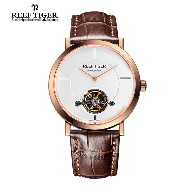 Reef Tiger/RT Watches New Business Tourbillon Mechanical Watches For Mens Automatic Luxury Brand Rose Gold Watches RGA1610 yn e3 rt ttl radio trigger speedlite transmitter as st e3 rt for canon 600ex rt new arrival