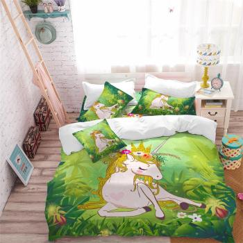 Princess Green Unicorn Bedding Set