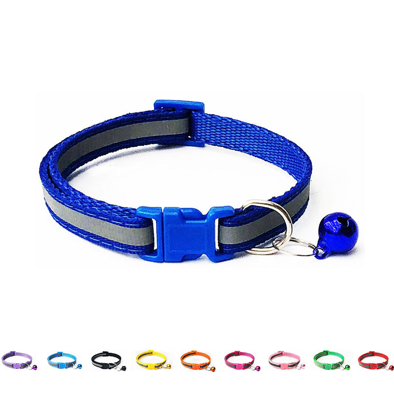 Reflective Cat Collar With Bell Solid Nylon Pet Collar Safe Breakaway Cat Collar Adjustable Ultra-light Design Neck 19-32cm
