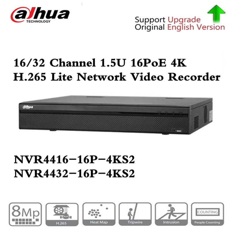 Brand PoE NVR NVR4416-16P-4KS2 NVR4432-16P-4KS2 with 16/32CH PoE Port support Two way Talk Third Party Camera Network Video Reco цифровой видеорегистратор dahua 16 poe dh nvr4416 16p