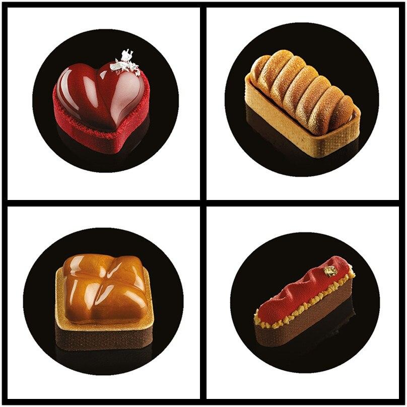 SHENHONG incroyable tarte gâteau Moule pour la cuisson Dessert anneau Art Mousse Silicone 3D Moule silikondois Moule Tartlet Pan pâtisserie outils