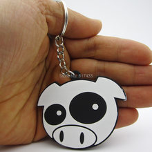 1PCS soft rubber Racing car JDM Evil Rally Drift Pigs Bandaid Cross keychain keyring key chain ring(China)
