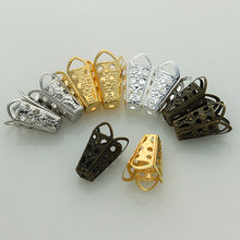 50pcs Free Shipping Beads Caps Jewelry Finding 10x16mm Four-leaves Hollow Bugle Bead Cap Gold Silver Bronze Nickel Plated Z633