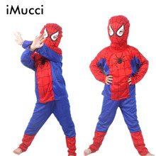 iMucci Spider Man Children Clothing Sets Spiderman Halloween Party Cosplay Costume Kids Long Sleeve Super Hero