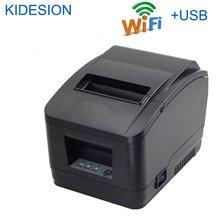 Alta qualidade 80mm wifi impressora pos cortador automático impressora de recibo wi fi + interface usb para o supermercado, loja chá leite