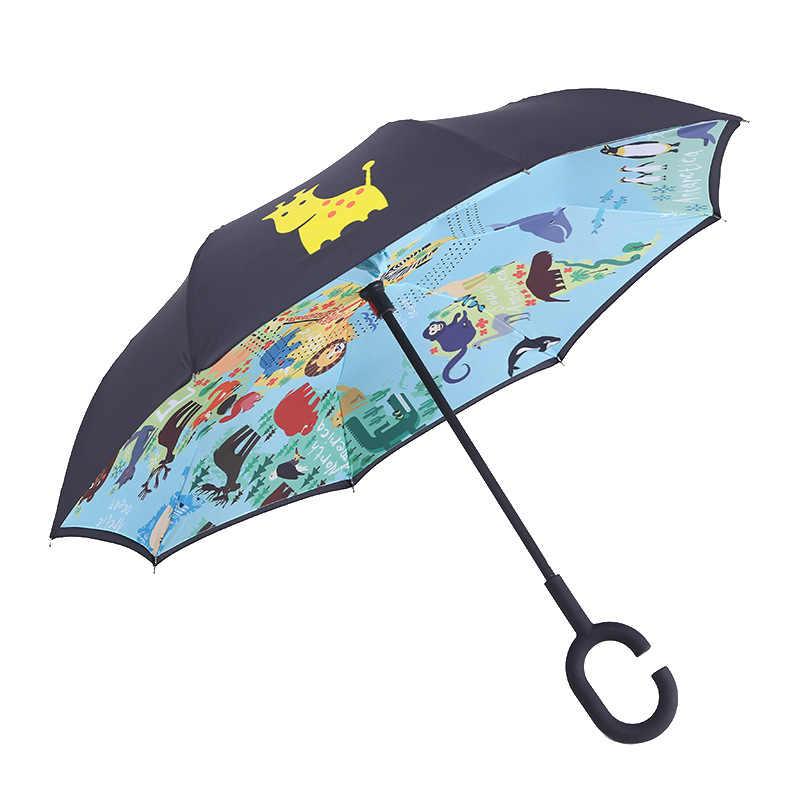 Lipat Terbalik Payung Double Layer untuk Anak-anak Hujan Payung Terbalik Windproof Kartun Anak-anak UV Perlindungan Payung