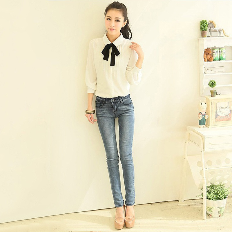 HTB1hcYHQXXXXXchapXXq6xXFXXXv - Korean Women Elegant Bow Tie White Blouses Clothing