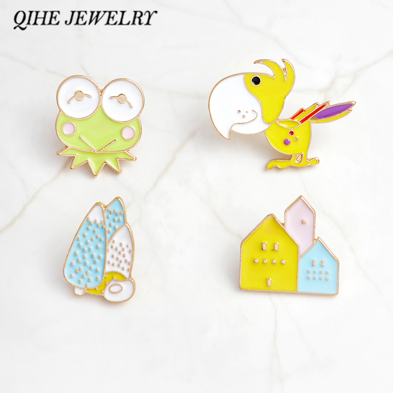 QIHE JEWELRY Pins and brooches Frog bird tree house hard enamel pin Cute animal brooches Badges Gift for girls boys