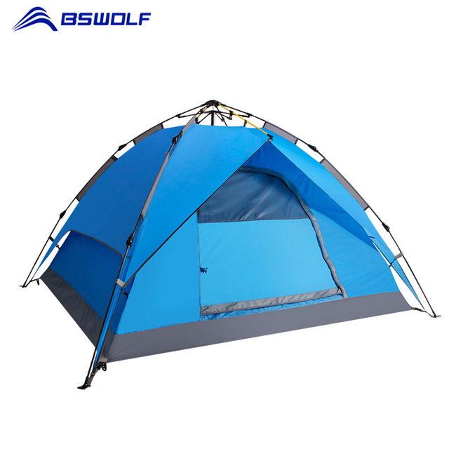 BSWolf Portable Pop Up Beach Tent Automatic Tents Outdoor Camping Fishing Waterproof 3-4 Persons Tourist Tent For Hiking