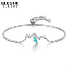 FOREWE 2018 New Blue Opal Swan Charm Bracelet with Clear CZ Crystal Women Bracelet Chain Link Jewelry Gift(China)