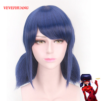 VEVEFHUANG Miraculous Ladybug Wigs Peluca Marinette Girls Women Cosplay Double Ponytail Braids Short Straight Blue Hair