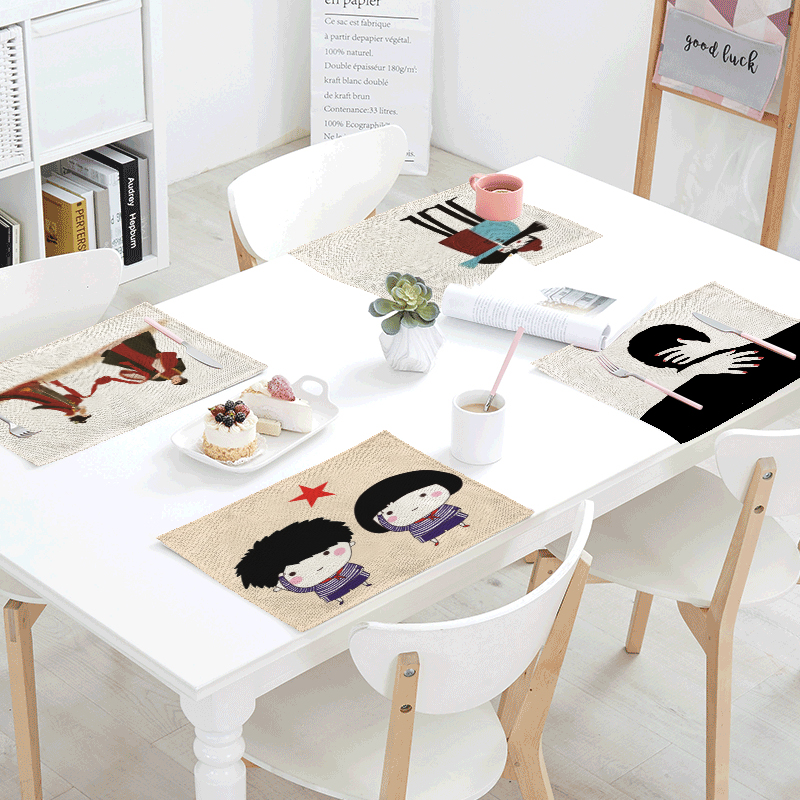 42x32cm Minimalist Tablecloth Anime Characters Antique Napkin Towels Tea Coffee Table Kitchen Wedding Decoration Western Mat