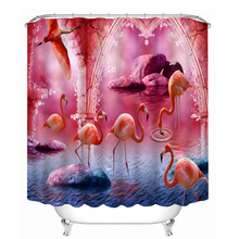 3D Flamingo Pattern Shower Curtains Bathroom Curtain Waterproof Thickened New Fashion Bath Curtain Customizable цена 2017