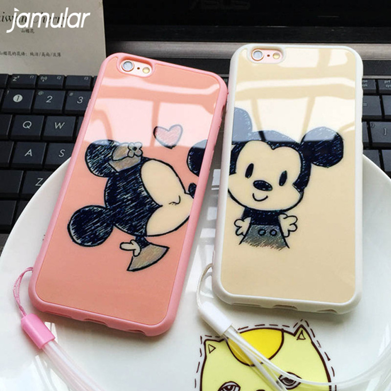 JAMULAR Cartoon Minnie Mickey Mouse Phone Case for iPhone 6 6s Plus 5s SE 6 7 8 Soft Silicone Mirror Cases for iPhone 8 7 Plus