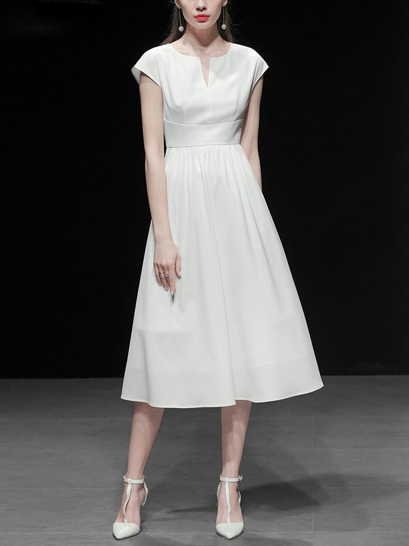 2019 ฤดูร้อนแฟชั่นผู้หญิง V คอสั้นแขนเอวสูงชุดบอลชุดลำลองสีทึบชุด Z1154-ใน ชุดเดรส จาก เสื้อผ้าสตรี บน   3