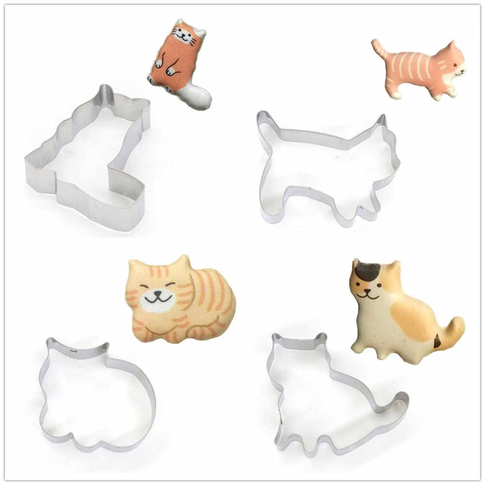 Cat Shaped Aluminium Mold Sugarcraft Cake Cookies Pastry Baking Cutter Mould W522