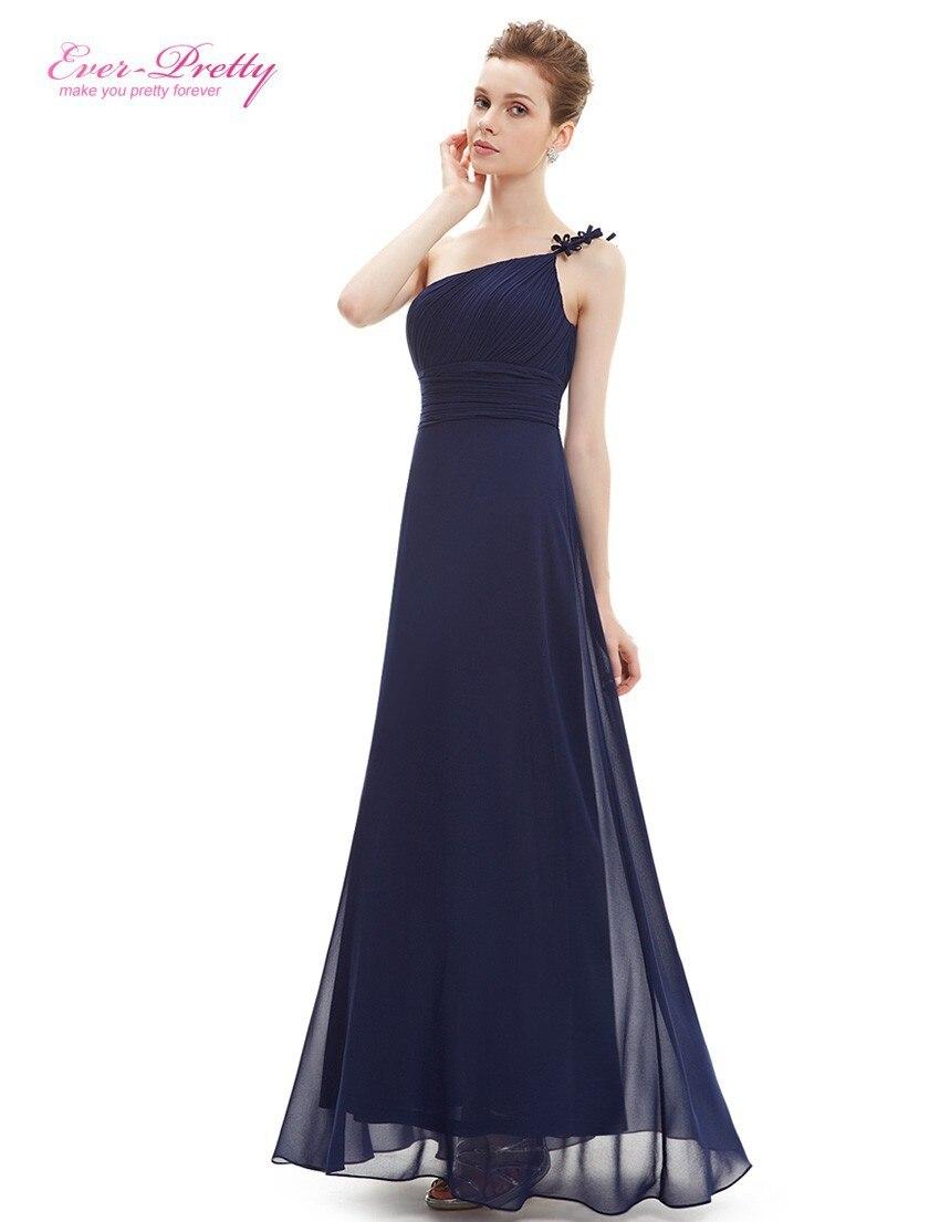 HE09596SB One Shoulder Sapphire Blue Flower Ruffles Chiffon NWT Evening Dress