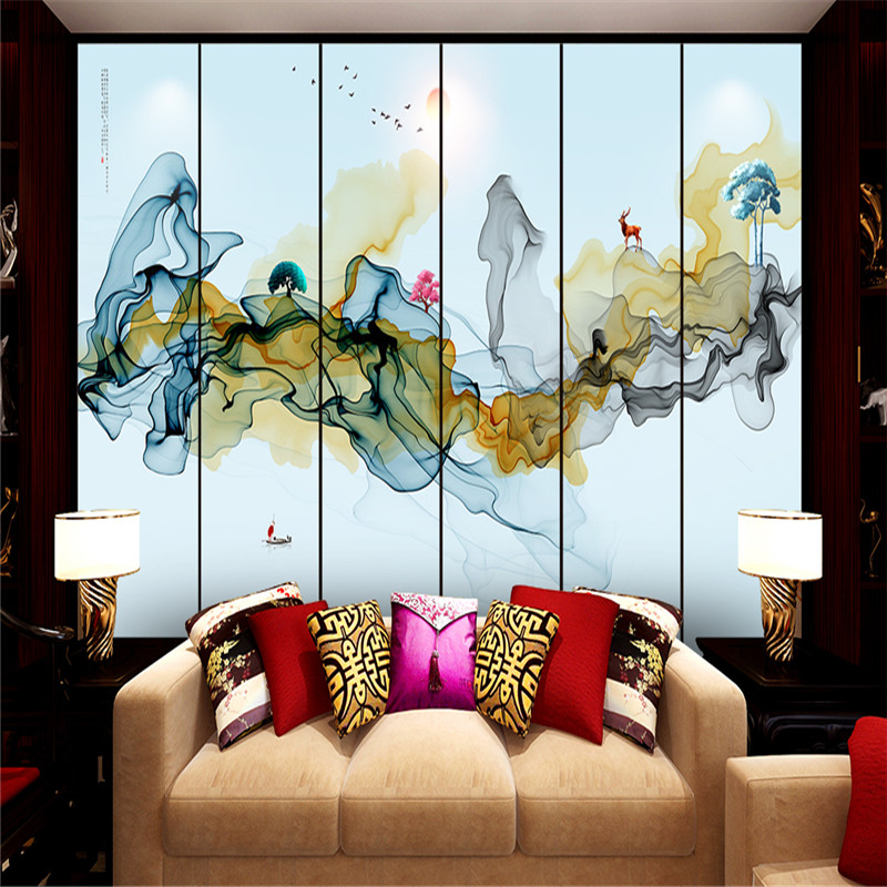 Chinese Abstract Painting Photo Wallpapers Murals Landscapes 3D Walls Papers for Living Room Home Decor 3D Nature Wallpapers shinehome european roman pillar angel soft roll wallpaper for 3d rooms walls wallpapers for 3 d living room wall paper murals