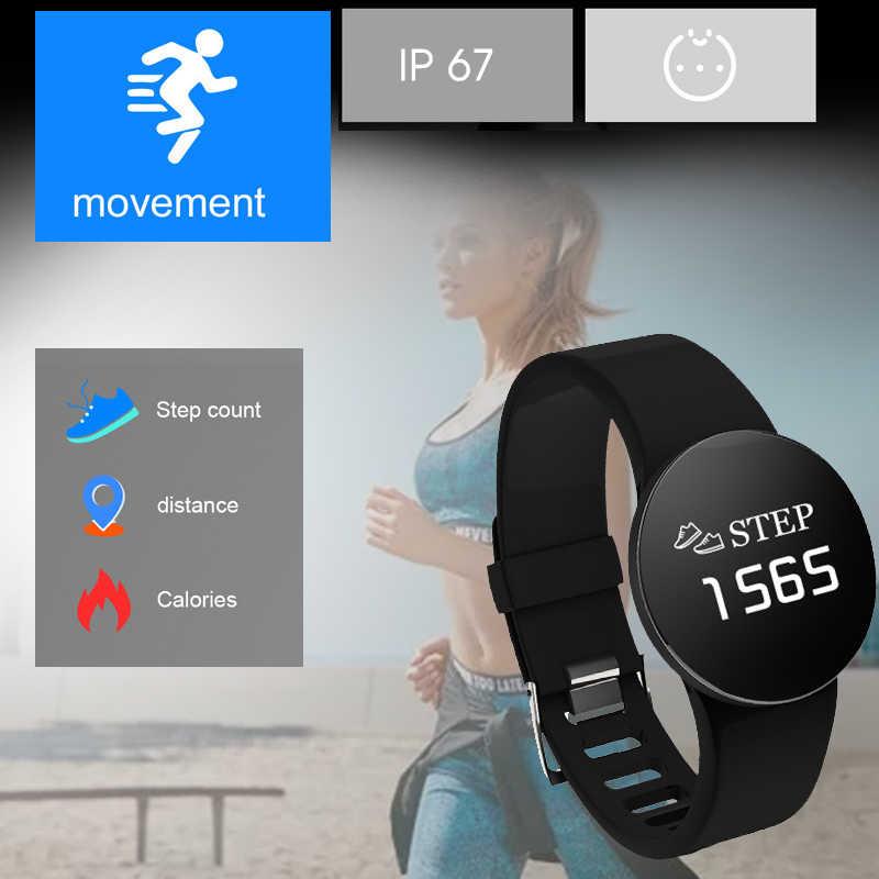 スマート腕時計 IP68 防水スポーツ OLED 活動フィットネストラッカー心拍数モニターつば男性女性スマートウォッチ Android Ios
