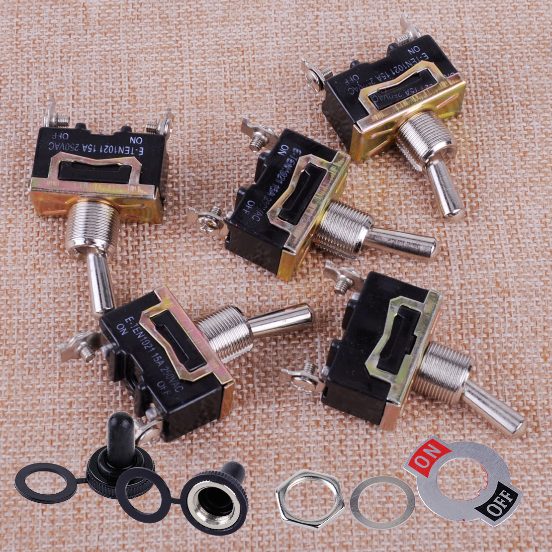 CITALL 5pcs SPST ON/OFF 2Pin Heavy Duty Car Boat Yacht Tractor 15A 250V Rocker Toggle Switch with Waterproof Boot