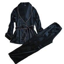 High Grade Silk Satin women pajama set full sleeve robe + long pants set female autumn bath robe suit elegant sleepwear homewear