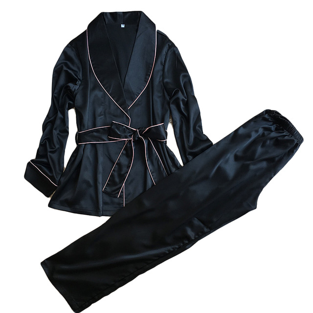 High Grade Silk Satin Women Pajama Set Full Sleeve Robe + Long Pants Set Female Autumn Bath Robe Suit Elegant Sleepwear Homewear