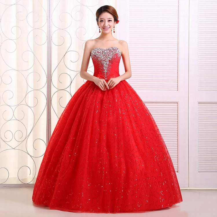 Red Wedding Gowns 2014: 2015 New Arrival The Latest Handmade Diamond Wedding Dress