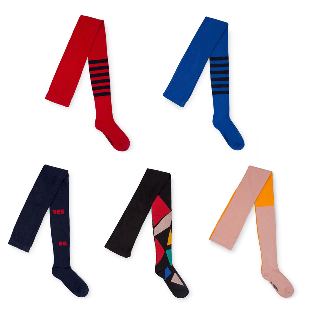 Bobo Choses Tights 2018 Autumn Baby Girls Geometric Striped Tights Cotton Knee Highs Children Patchwork Long Stockings for Kids кабель deppa alum usb а 3 0 usb type c золотистый