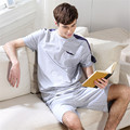 Banyan men sleepwear Pure cotton color matching short sleeves mens pajamas pyjama cotton stitch onesie pijama Can wear outside