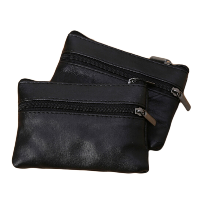 Men Women Coin Key Soft Holder Zip Leather Wallet Pouch Bag Purse Gift New Fashion Black Mini Coin Holders
