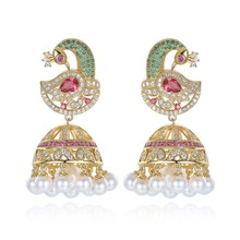 Hint Bollywood Jhumka inci küpe yapay inciler altın kaplama tavuskuşu Jhumki avize gelin lüks zarif mücevher
