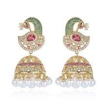Indian Bollywood Jhumka Pearl Earrings Artificial pearls Golden Plated Peacock Jhumki Chandelier Bride Luxury Elegant Jewellery