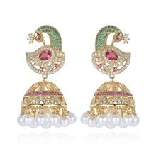 Indiana Bollywood Jhumka Perla Orecchini Artificiale Orecchini di perle Placcato Oro Pavone Jhumki Lampadario Sposa Elegante di Lusso Gioielli