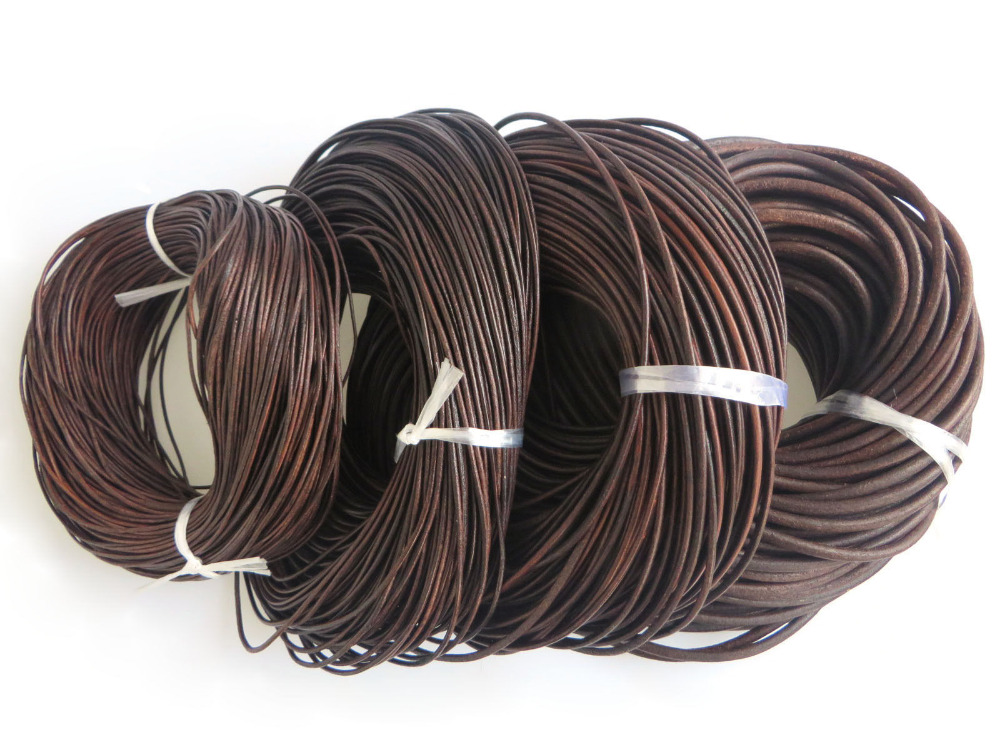 5 Meters High Quality Dark Antique Brown 1.5mm 2mm 3mm 5mm Round Genuine Soft Leather Findings Cord String Lace Rope high quality 50 meters 1 5mm 1 7mm stainless steel wire rope