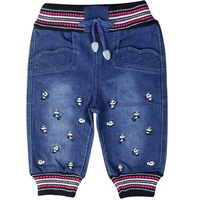 Baby Girls Bloomers Jeans Denim Trousers Panda Image Letter Pattern Embroidery Elastic Waistband Bow Pants BQ