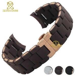 Image 2 - Gomma di Silicone del Cinturino del silicone wristband del braccialetto in oro Rosa fibbia per AR5905 AR5906 AR5919 AR5920 20 23 millimetri watch band strap