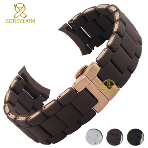 Image 2 - Silicone Rubber Watchband silicone wristband bracelet Rose gold buckle for AR5905 AR5906 AR5919 AR5920  20 23mm watch band strap