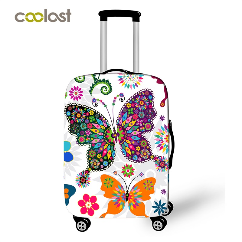 Generic Butterfly Printed Waterproof Luggage Cover for Travel Luggage Protective Covers