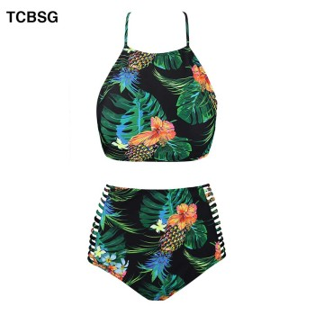 TCBSG 2019 Summer Bandeau Bikini Push Up Swimwear Bikinis Sexy Women Swimsuit Printed Bikini Set Solid Beach Bathing Suits 2