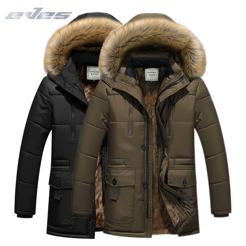 EVES Winter Men's   down   jacket Parkas Detachable Hoodie And fur Edge Man Casual   Down     Coats   Thicken OverCoat Warm Clothing For Men