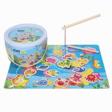 Kids Magnetic Fishing Toys Sets Game and Puzzle With Wooden Ocean 3D Fish Magnets Toys Baby Educational Outdoor Toys For Child недорого