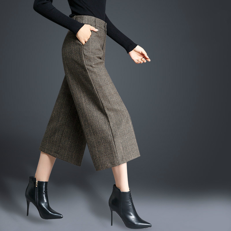 2018autumn and Winter Was Thin Large Size Loose   Wide     Leg     Pants   Warm Thick Wool Wool Seven   Pants   High Waist Casual Trousers Women